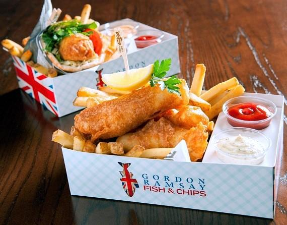Fish & chips and the Fishwich served at Gordon Ramsay Fish & Chips at The LINQ Promenade