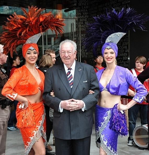 Former Mayor of Las Vegas Oscar Goodman and Showgirls welcomed guests outside of Miracle Mile Shops during USA Sevens Rugy Pep Rally for USA Eagles