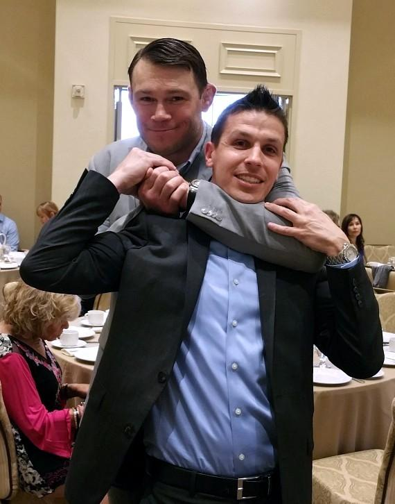 UFC Champ Forrest Griffin put friend Jason Egan in a headlock
