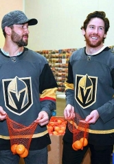 Golden Knights' Stars Deryk Engelland and James Neal Face-Off Against Hunger at Three Square