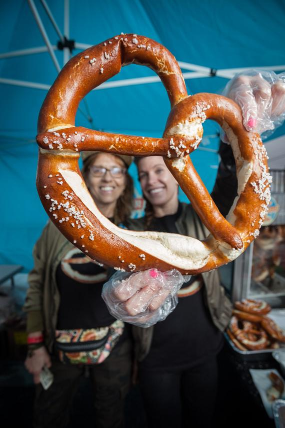 Great Vegas Festival of Beer vendors give out soft pretzels as the perfect snack