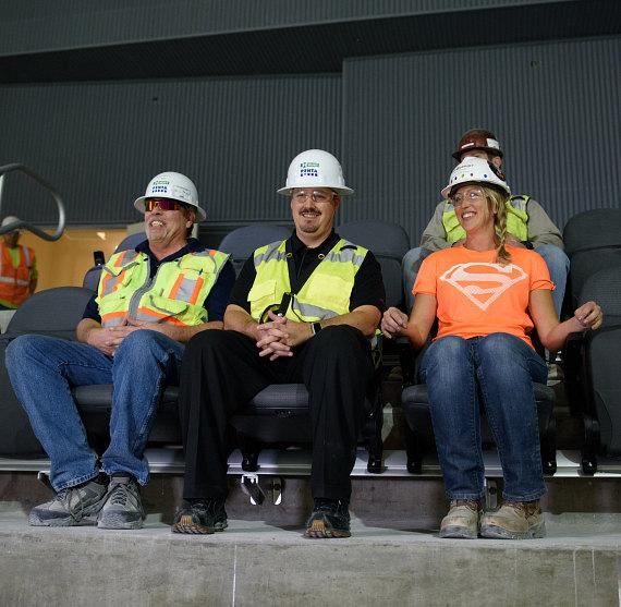 General Manager Dan Quinn and Construction Workers Test First Seats