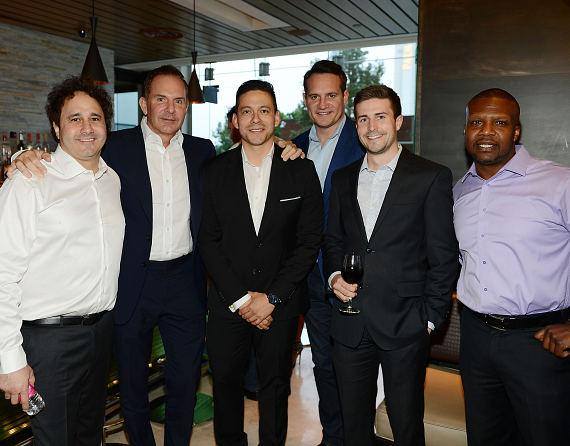 George Maloof, Scott Menke, Alex Acuna, Ross Miller, Tyler Langdon and Reggie Turner celebrate Kerry Simon's 60th birthday
