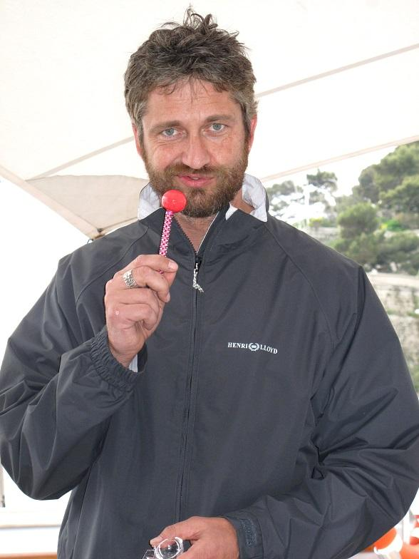 "Gerard Butler with Sugar Factory's ""Berry Bling"" Couture Pop"