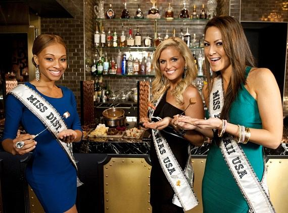 Miss USA contestants indulge in milk chocolate fondue at The Chocolate Lounge & Wine Bar