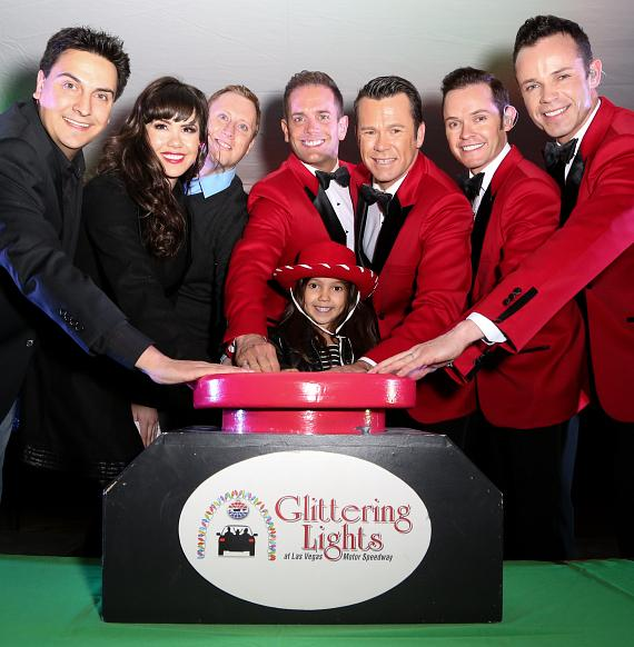 The lights were officially turned on during the Glittering Lights VIP event November 13 with the help of a heart child from Children's Heart Foundation, a past grant recipient of Speedway Children's Charities (SCC), and Las Vegas entertainers, Claire Sinclair, Human Nature and Marco and John Mac from Sunny 106.5. SCC receives a portion of each ticket purchased