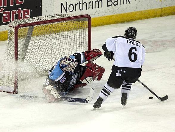 Goal by Las Vegas Wranglers defenseman Barry Goers