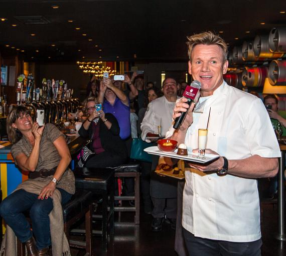 Chef Gordon Ramsay surprises guests at Gordon Ramsay Pub & Grill at Caesars Palace
