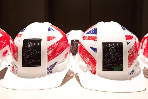 Specially designed Gordon Ramsay Steak hard-hats, accented by the logo and Union Jack
