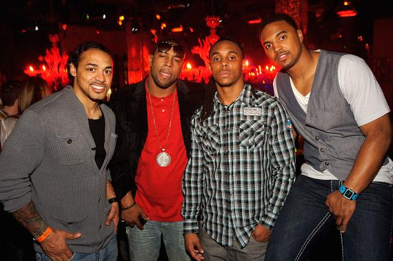 Green Bay Packers Nick Barnett, Diyral Briggs, Morgan Burnett and Brad Jones at TAO Las Vegas