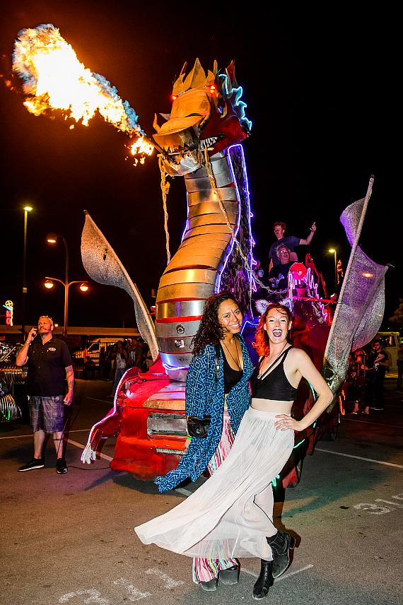 Guests with dragon at Intergalactic Art Car Festival