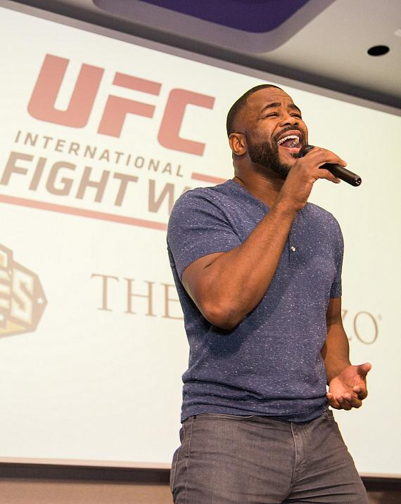 Rashad Evans performs at the UFC Lip Sync Challenge at Lagasse's Stadium