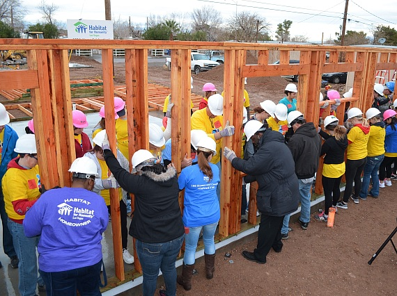 Habitat Las Vegas 100th home frame day, Jan. 31, 2015