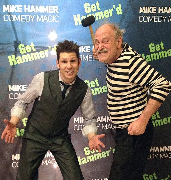 comedian gallagher visits mike hammer s comedy magic show at four