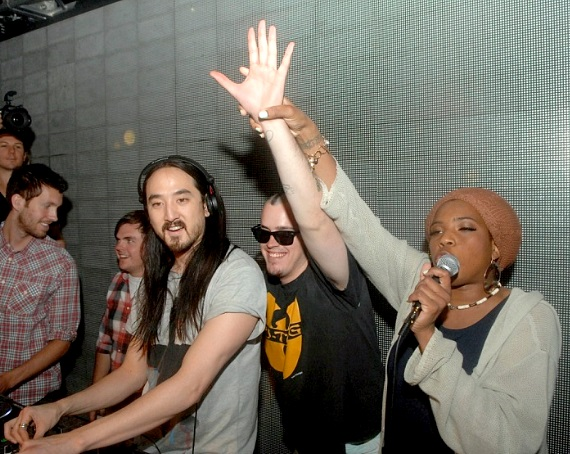 Calvin Harris, Steve Aoki and Macy Gray at Surrender Nightclub
