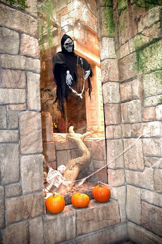 Skeleton and pumpkins at Haunted Reef