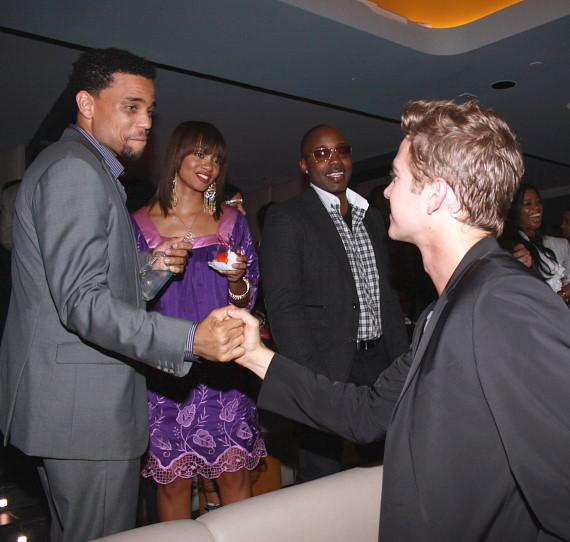 Hayden Christensen arriving at after party with Michael Ealy