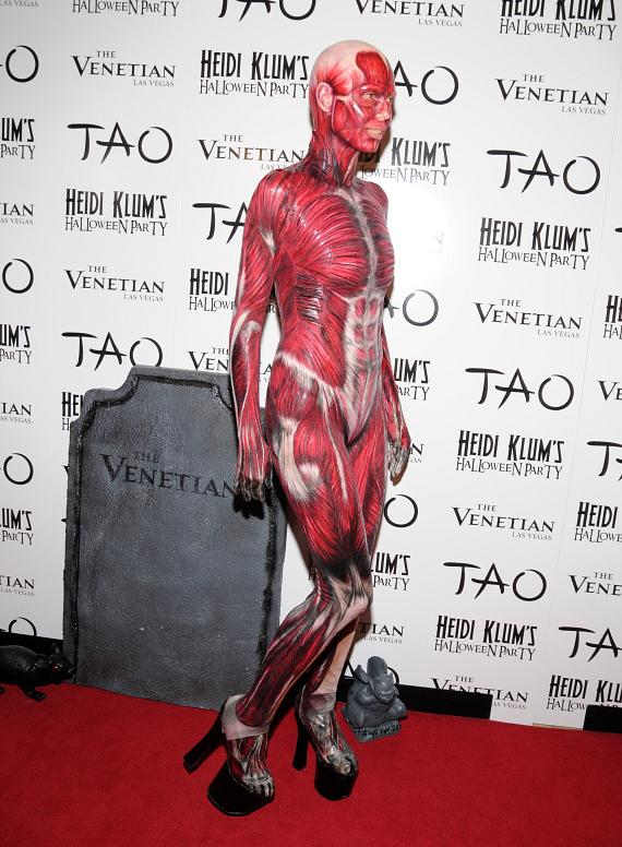 """Heidi Klum becomes the """"Visible Woman"""" for Halloween at TAO Nightclub"""