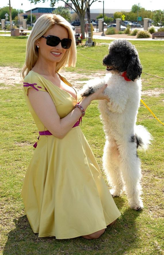 "Holly with a ""show dog"" at the Forever Home Picnic to Benefit the Lied Animal Foundation"