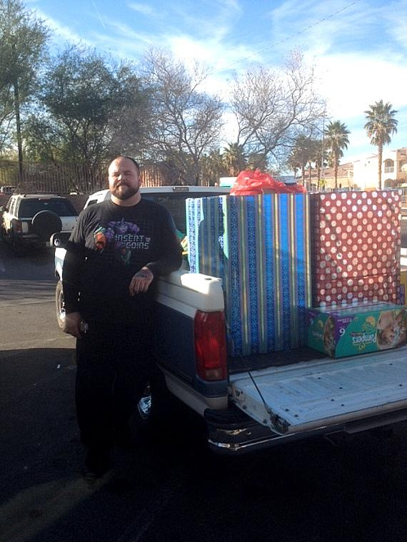 Jesse with truck full of goods