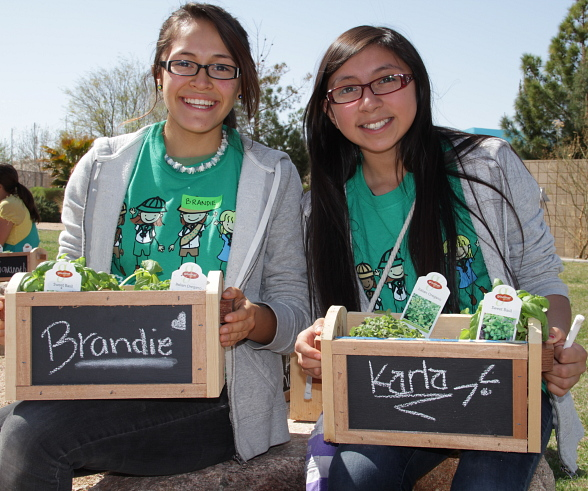 Girl Scouts Brandie and Karla make mini-planters