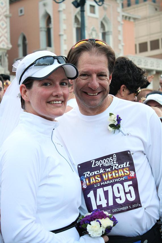 "Cliff Jennings and Susan Fryman break from the marathon to say ""I do"" after previously meeting in Venice and getting engaged at The Venetian"
