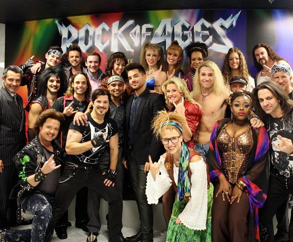 Adam Lambert with the Rock of Ages Las Vegas Company