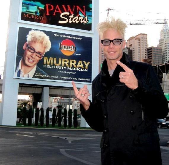 Murray Sawchuck poses in front of his sign at The Tropicana Las Vegas