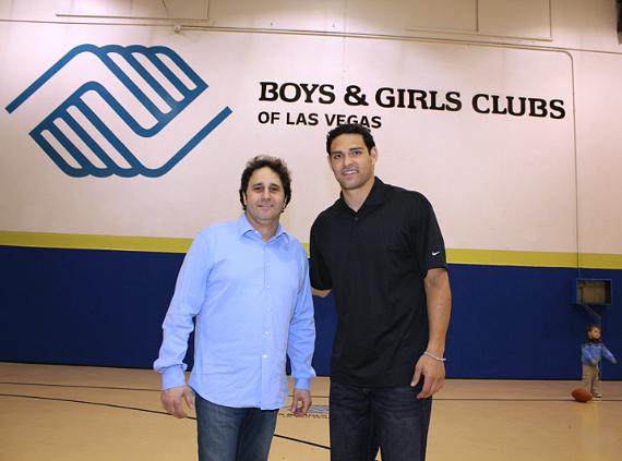 George Maloof and New York Jets Quarterback Mark Sanchez visit kids from Boys & Girls Clubs of Las Vegas