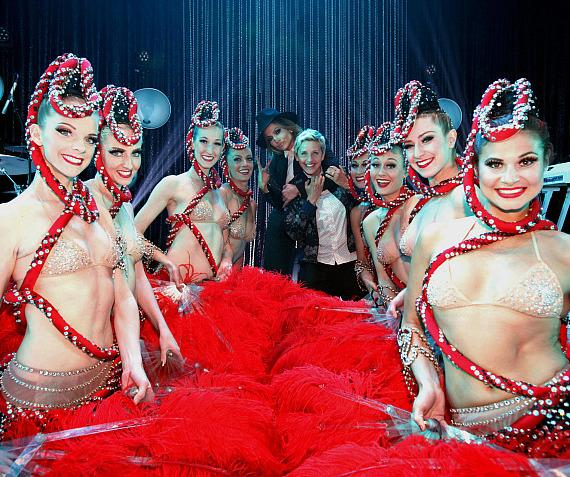 Jennifer Lopez and Jubilee Showgirls with ELLEN