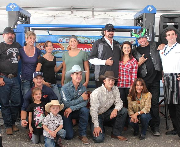 PBR Stock Contractor Jeff Robinson and wife Anne Robinson, Jordan Nance, Dana Lee, Morgan from the Tenors, FOX 5's Shannon Moore, Horny Mike, Tyson's Chef Thomas, (bottom row) Professional Bull Rider Cody Nance, Professional Bull Rider Mike Lee, retired Professional Bull Rider Dustin Elliot and Leah Garcia