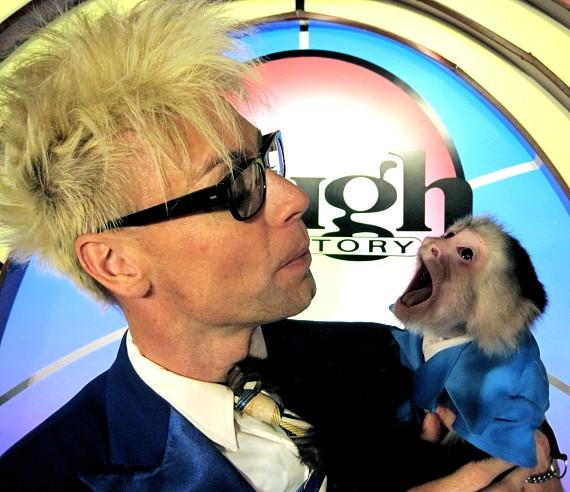 Mikey the Monkey talks to Murray during MURRAY 'Celebrity Magician' at The Tropicana