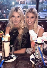 "Bachelor Twins and Stars of ""The Twins: Happily Ever After?"" Emily and Hayley Ferguson Visit Sugar Factory American Brasserie in Las Vegas"