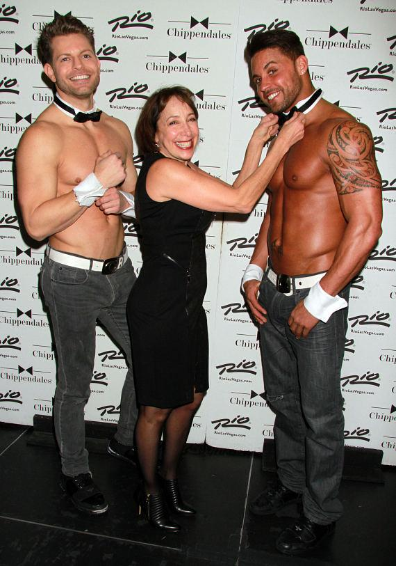 """""""Grease"""" Actress Didi Conn poses with Chippendales dancers Jaymes Vaughan and Matt Marshall at Rio Las Vegas"""