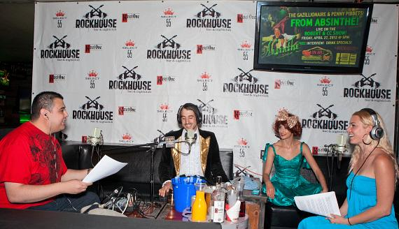 Co-host Robert Blasi, Absinthe stars The Gazillionaire and Penny Pibbets, and co-host CC
