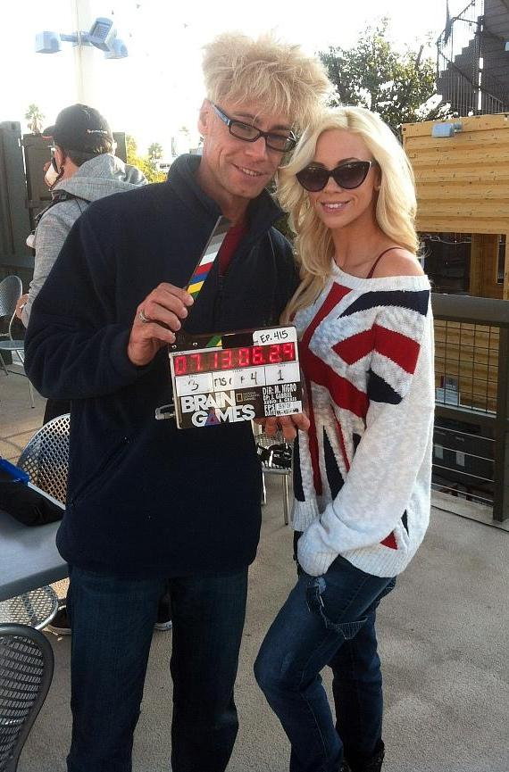 Murray and Chloe on set of Brain Games