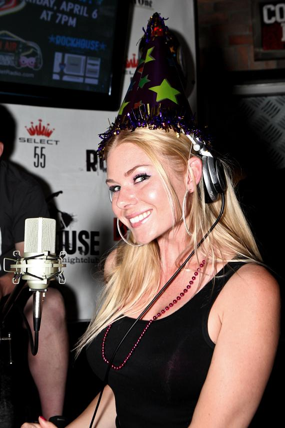 "Co-host Christina ""CC"" Christensen celebrates the 4th Anniversary of Hook Jaw Net Radio at The Rockhouse in Las Vegas"