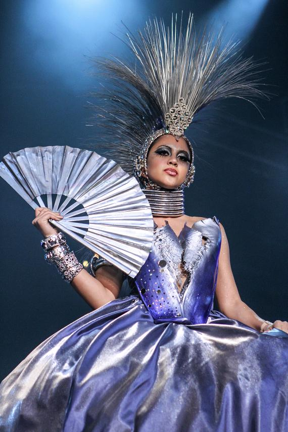 Model Cristel Scharsch is wearing a piece designed by Paul Franklin which was highlighted during the Circus Couture event