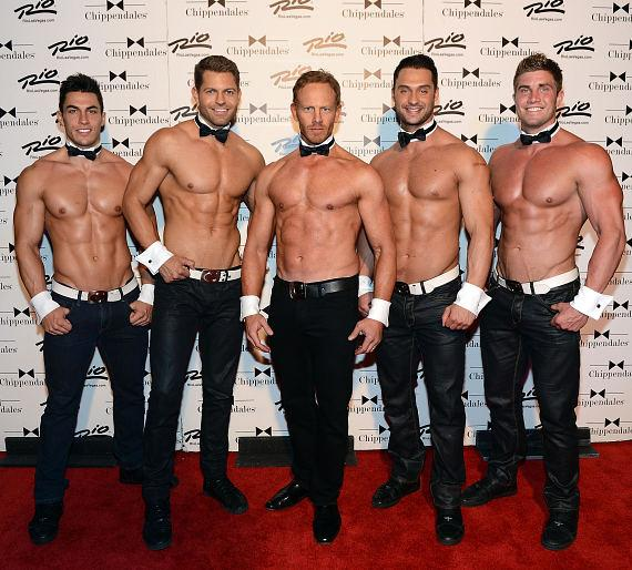 Ian Ziering on red carpet with cast members of Chippendales Las Vegas