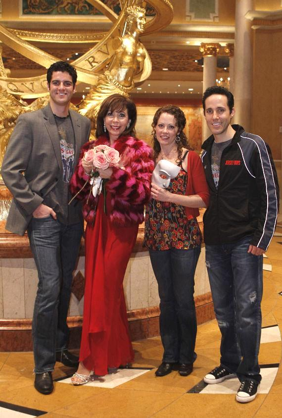 "Rita Rudner with ""Jersey Boys"" cast members Peter Saide and Jeff Leibow (""Nick Massi""), and ""Phantom"" star Kristi Holden"