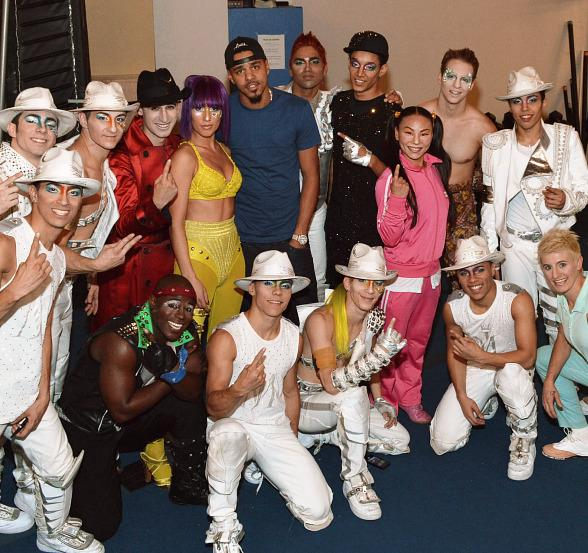 J.Cole and members of the cast of Michael Jackson ONE by Cirque du Soleil