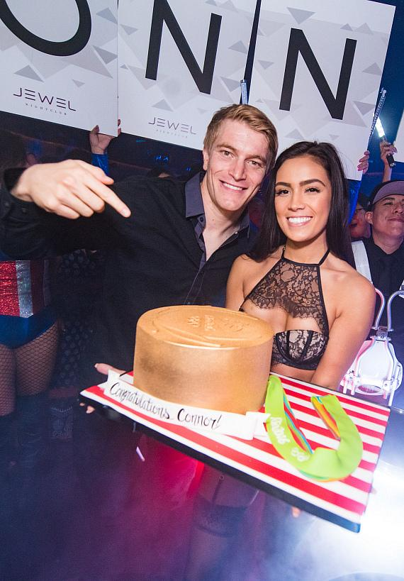 Connor Fields with cake at JEWEL Nightclub