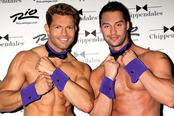 Team Chippendales Jaymes and James from Amazing Race Support Spirit Day