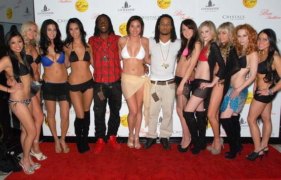 NFL's Jamaal Charles and Earl Thomas with Bikini Bowl models