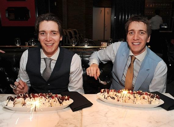 "The ""Harry Potter"" Phelps twins with Red Velvet Ice Cream Sundaes at Sugar Factory American Brasserie at Paris Las Vegas"
