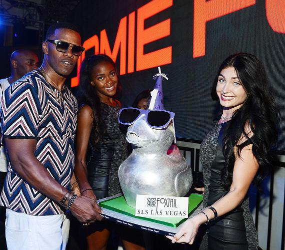 Jamie Foxx is presented with a birthday cake in honor of SLS Las Vegas' first anniversary, Aug. 22