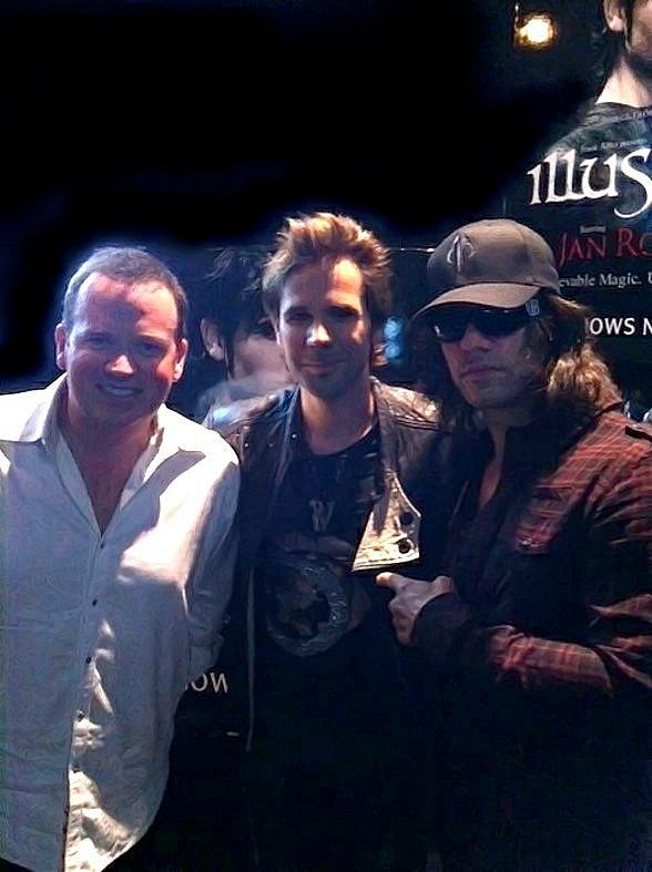 Nathan Burton, Jan Rouven and Criss Angel backstage at ILLUSIONS