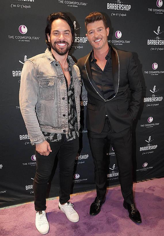 Jason Craig and Robin Thicke at The Barbershop Cuts & Cocktails in Las Vegas