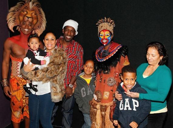 Jelani Remy, Brooklyn Stockman, Sharonda Stockman, Shawn Stockman, Ty Stockman, Buyi Zama, Micah Stockman and Mariah Ramos at The Lion King Las Vegas
