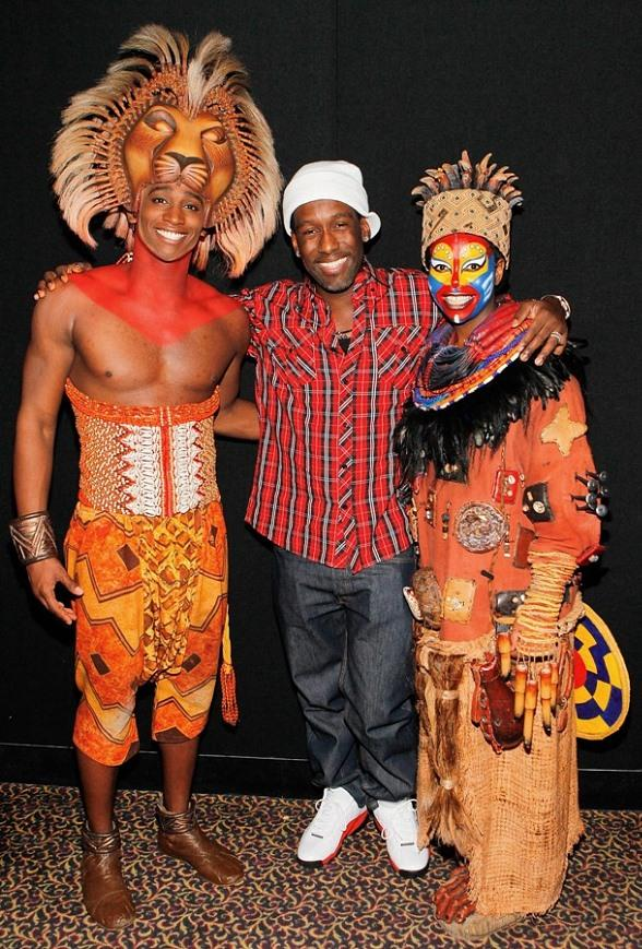 Jelani Remy as Simba, Boyz II Men's Shawn Stockman, Buyi Zama as Rafiki backstage at THE LION KING Las Vegas